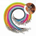 10 teile/los 1,5mm Bunte Wachs Leder Cords Charme Ketten 45 + 5 cm Runde Anhänger Seil Ketten Mit Hummer schließe DIY Schmuck Machen