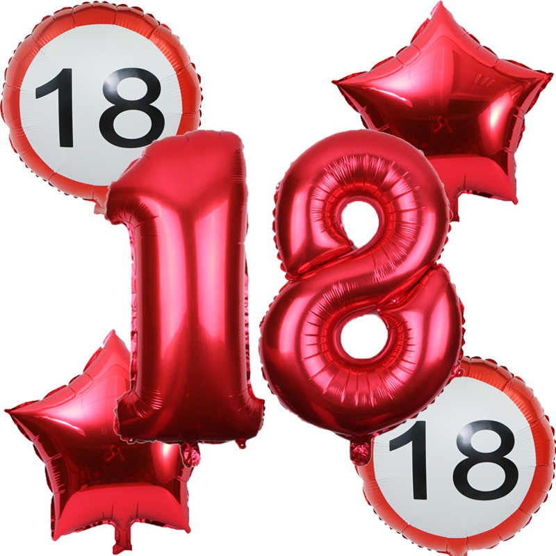 6pcs/set 32inch number 18 30 40 50 60th Anniversary Day Balloon globos cumpleanos infantiles birthday party decor adul balloons