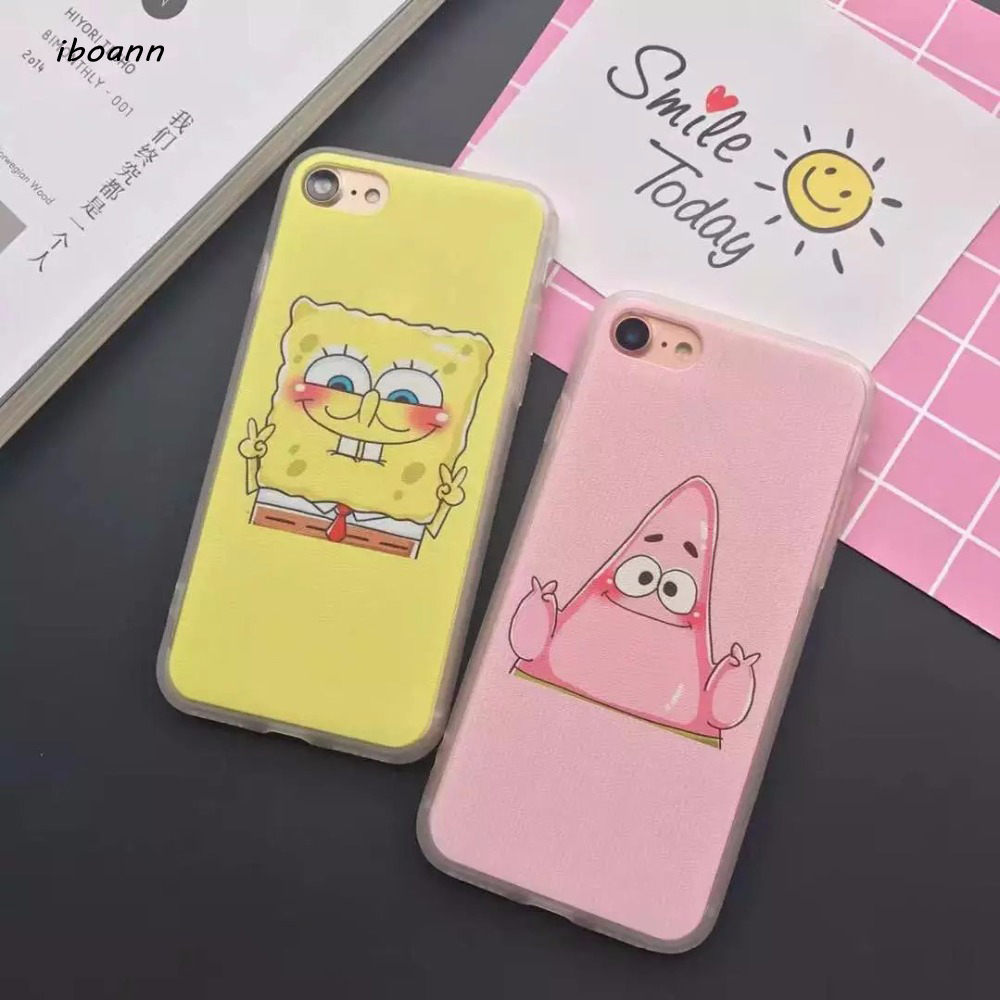 iboann Scrub PC matte hard back cute cartoon SpongeBob Patrick victory case for iphone 5 5s SE 6 6s 6 S plus 7 8 cases cover