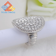 Fashion Stretch Ring for Women and Men Round Metal Rhinestone White K Plated Trendy Ring trendy cross rhinestone decorated ring for women