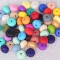 100 unid Ábaco cuentas de Collar De Silicona Dentición de Silicona Libre de BPA Aprobado POR LA FDA DIY Geométrica Loose BEADS Seguro para la madre y bebé
