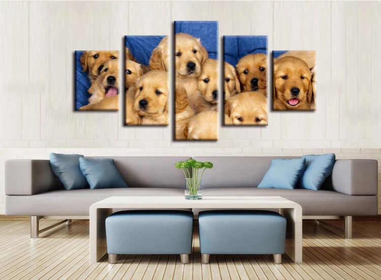 5 pieces / set labrador puppies dogs poster print wall sticker Wall Decor painting custom print