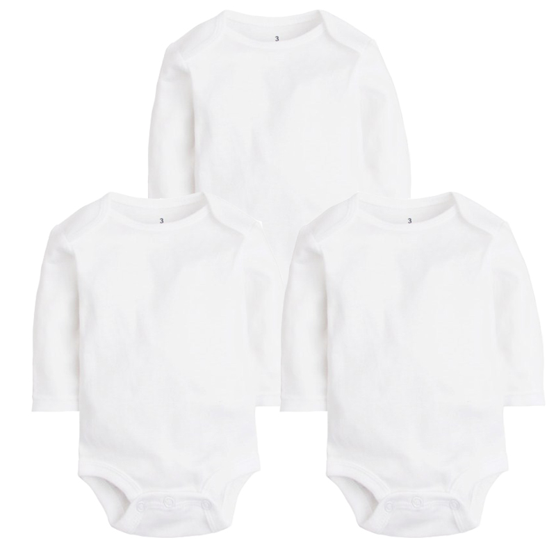 3PCS/LOT 2017 Top Quality Cotton Baby   Rompers   Long Sleeve White Color Baby Costume Newborn Boys&Girls Summer bebe Baby Clothes