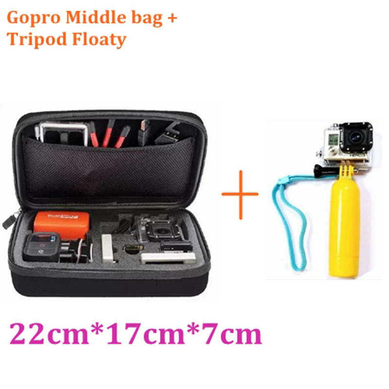Go pro Accessories Tripods Bobber Float Floaty Grip+Anti-shock Case bag For GoPro Hero 5 4 3+ 3 2 sjcam sj5000 xiaomi yi h8 h9r купить в Москве 2019