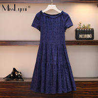 M 5XL Plus Size Women Cotton and Line Dress Summer 2019 Short Sleeve Hollow Out Flower Lace Embroidery Pleated Ruffle Dresses