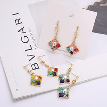 Fashion Hot Exquisite Geometric Square Earrings Inlaid Gravel Ladies Jewelry Pendant Female Party Accessories