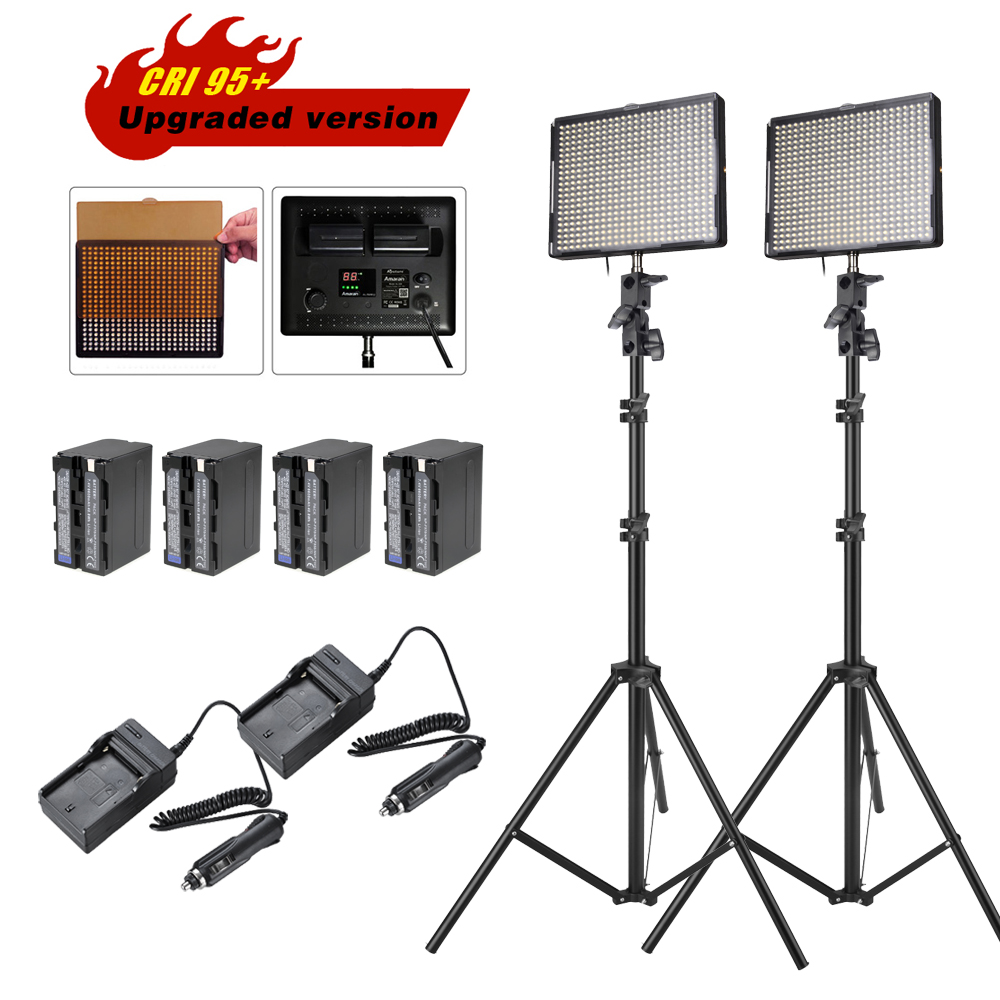 цена 2pcs/lot Aputure Amaran AL-528W LED Video Panel Studio Camera Photo Light with Color Filter +Battery Pack +Charger +Light Stands