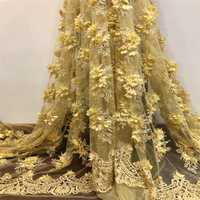 3D Fabric Flowers African Embroidery Lace Fabric French Tulle Net Lace 2018 Nigerian Beaded Laces Latest For Wedding W012