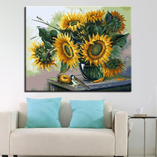 Yellow Sunflower in Bloom Picture By Numbers DIY Flower Painting Kits Hand paited On Linen Canvas Home Decor Wall Unique Gift