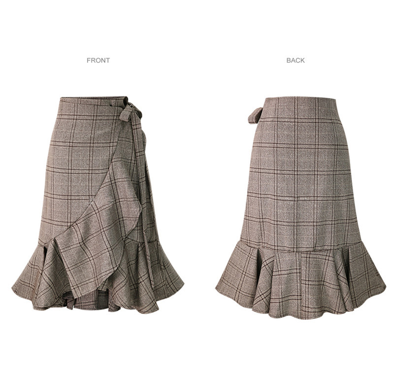 HDY Haoduoyi Women Plaid Skirts Pleated Hem Ruffles Korean Fashion Casual skirt Irregular Bottom Spring Summer Asymmetrical New 8