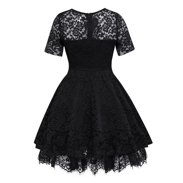 Women Lace Ball Gown Dress Vintage Short Sleeve V-Neck A-line Dress Summer Party Gothic Elegant Celebrity Black High Waist Dress 1