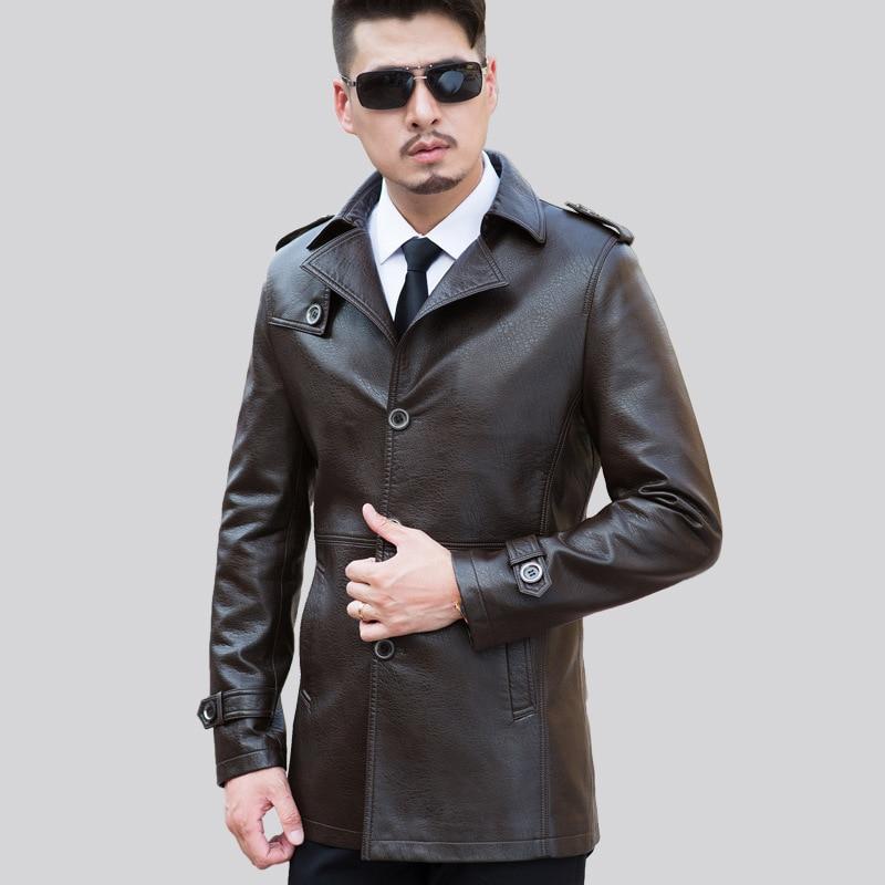 Collar Faux Cappotto Nero brown Slim Spessore Di Inverno Blazers Down  Autunno Leather Cappotti Pelle Mens Maschio Giacche ... 832066f9a20