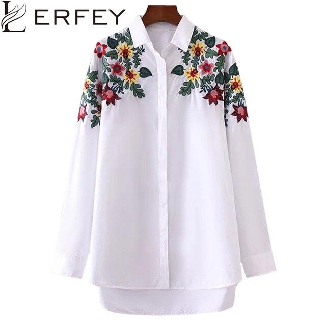 Lerfey Women Embroidery Floral Blouse Shirt Turn Dowm Collar White