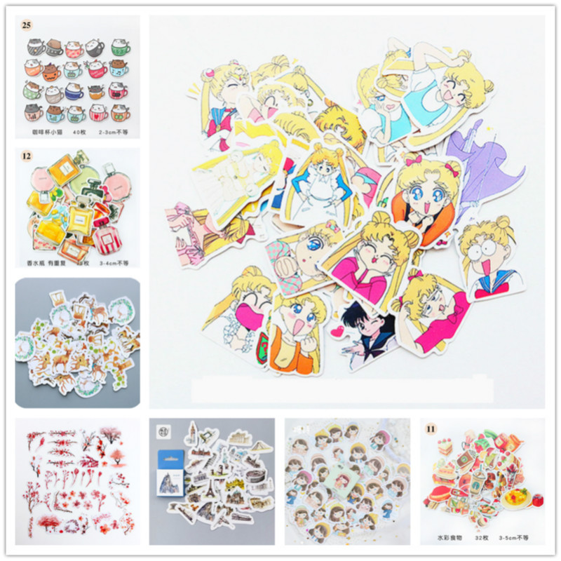 45Pcs/set Cute Stationery Sticker Kawaii Sailor Moon Pattern Diary School Supplies Stationery Christmas Stickers Gift Label