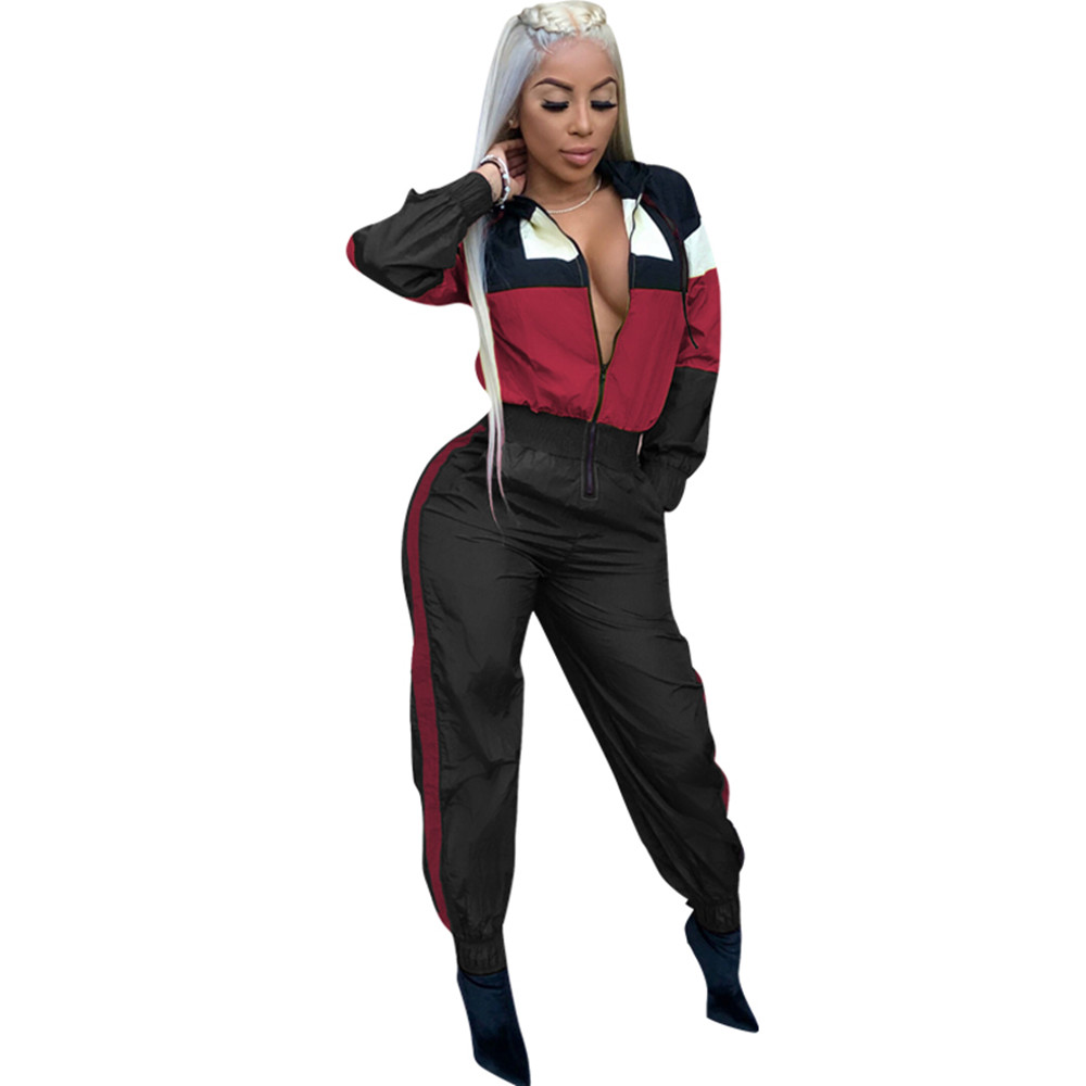 Fashion Color Block Patchwork Hooded Slim Jumpsuit Tracksuit Long Sleeve Rompers