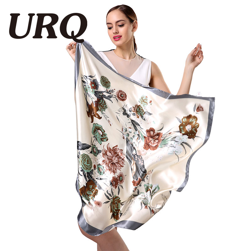 Ny Design Woman Silk Scarf 90 * 90cm Square Satin Scarves for Women Head Scarf for Hair Silk hår skjerf for å sove S9A9641