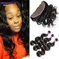 cheap virgin hair with closure Brazilian human hair 3 bundles with 13x4 lace frontal body weave closure and bundles weaving
