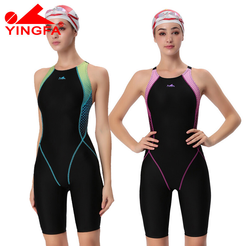Yingfa VaporWick एक टुकड़ा प्रतियोगिता kneeskin पनरोक क्लोरीन कम प्रतिरोध महिलाओं के तैराक शार्क स्विमिंग सूट