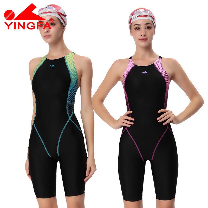 Yingfa VaporWick תחרות אחת חתיכה ברכיים עמיד למים כלור עמידות נמוכה לנשים בגדי ים Sharkskin בגד ים