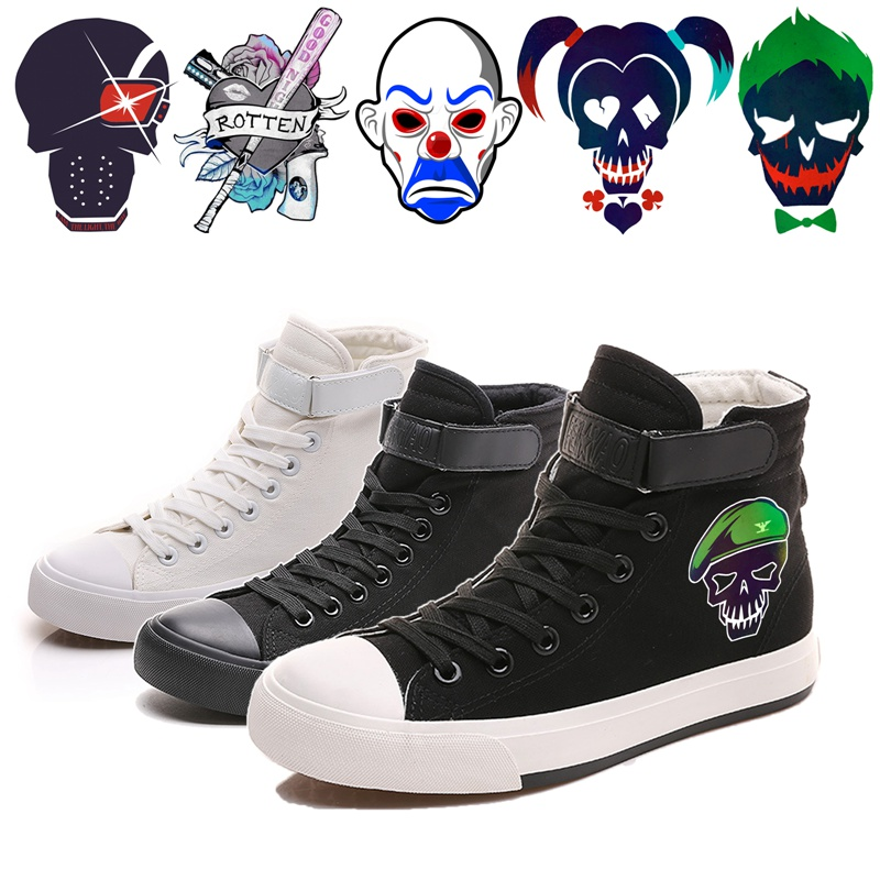 Printing Suicide Squad Cartoon pattern Canvas Shoes High-top Flat Casual Mens Fashion Students shoes