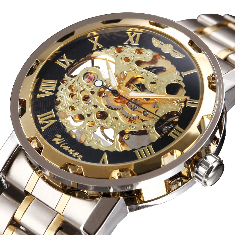 Golden Skeleton Mechanical Watch Stainless Steel Strap   Classic Wristwatch 17 Colors