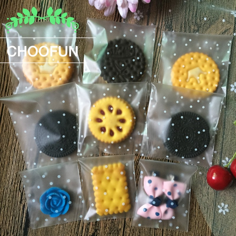 100Pcs Transparent Frosted Gift Bakery Cookie Candy OPP Bags Wedding White Dots