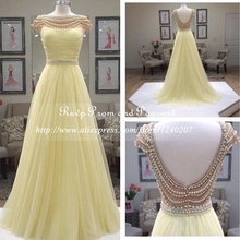 Real Sample 2017 Pearls Backless A-line Prom Dress Boat Neck Short Cap Sleeve Open Back Long Prom Dresses