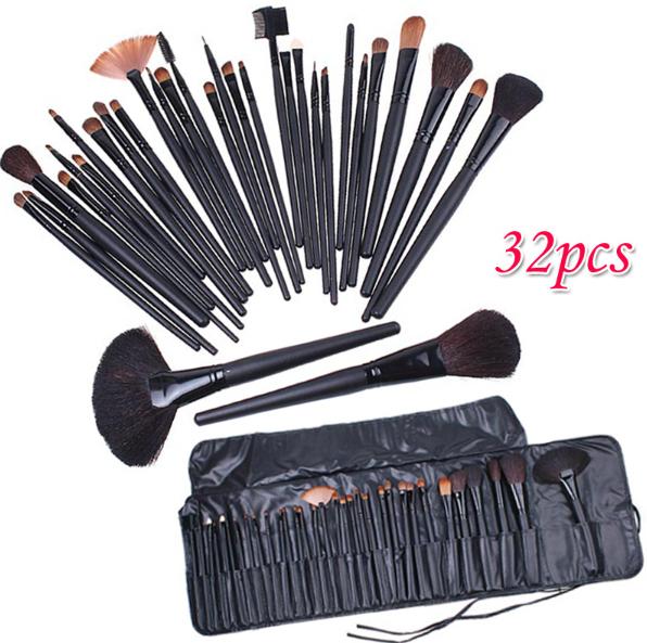 Profissional 32 32 cosméticos Facial maquiagem Kit escova escovas ferramentas + caso de couro preto
