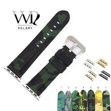Rolamy 38 40 42 44mm Camo Preto Verde Escuro Substituição Strap Pulseira de Pulso De Borracha De Silicone Puro Para Iwatch Série 4/3/2/1