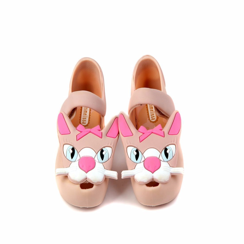 Mini Melissa Baby Jelly Shoes Girls Sandals Kids with cartoon fox Shoes Sandals Princess footwear non-slip Sandals