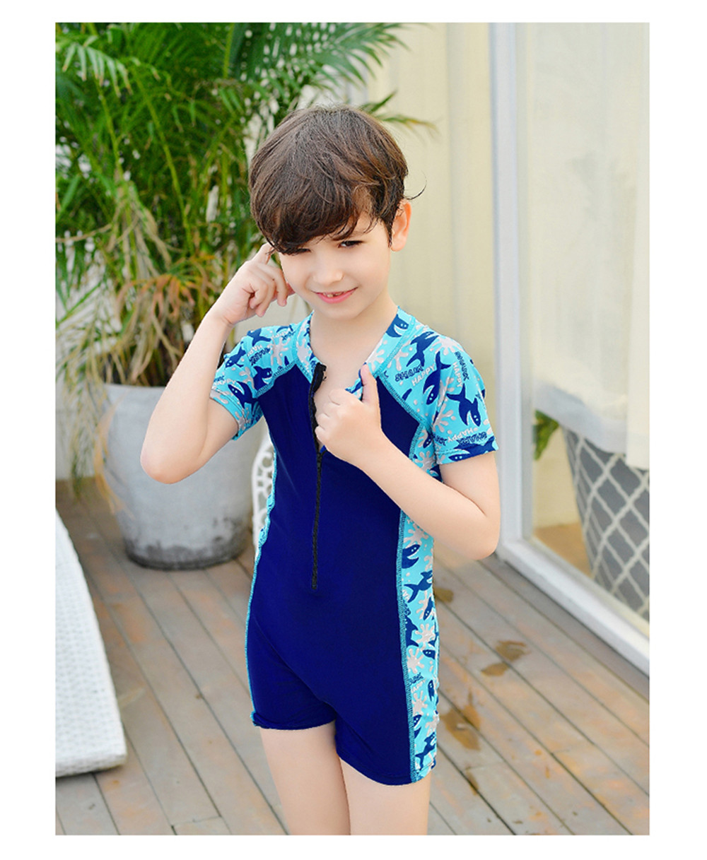 Child Swimwear One Piece Boys Swimsuits Cartoon Print Kids Bathing Suits Baby Boy Swimsuit Children Beach Wear With Back Zipper