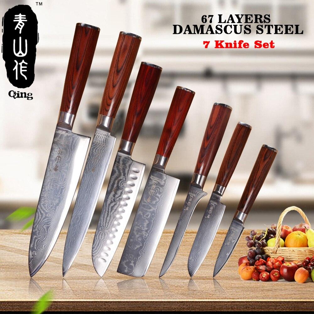 QING 7-Pieces Set Top Grade Japonês Aço Damasco Damasco Faca Utensílios de Cozinha Cor de Madeira do Punho Facas de Cozinha Nova Chegada