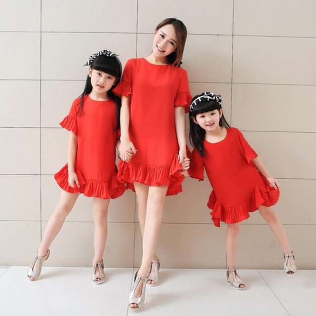 Summer New Family Matching Outfits Fashion Mermaid Dress Matching Mom and Daughter Dresses Family Clothes