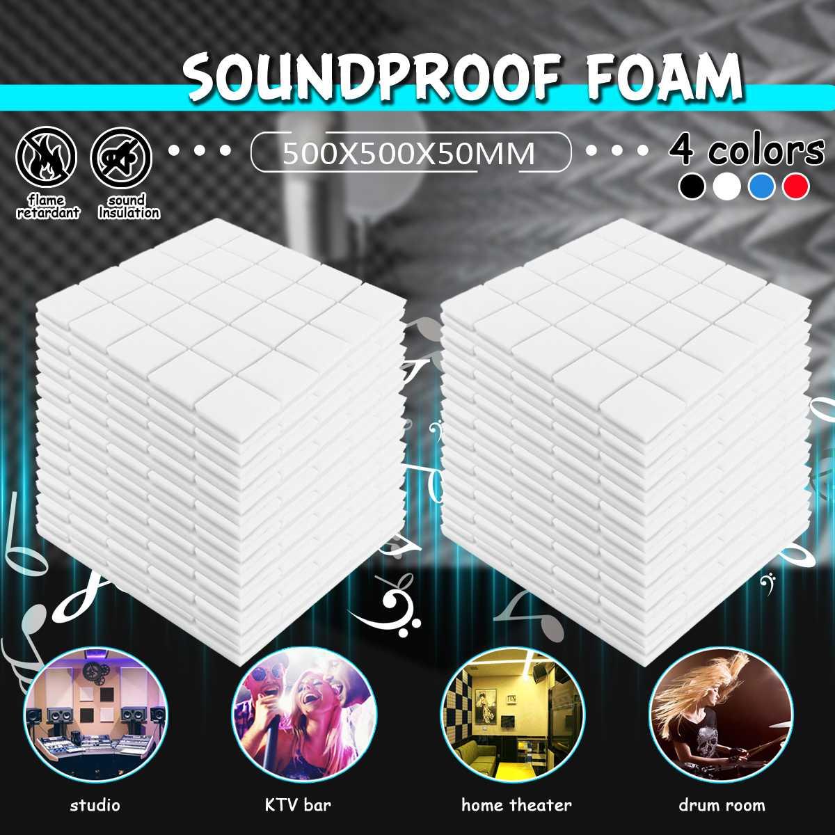 24 pièces 4 couleurs 50x50x5cm Studio acoustique insonorisé mousse Absorption acoustique traitement panneau tuile Wedge protection éponge