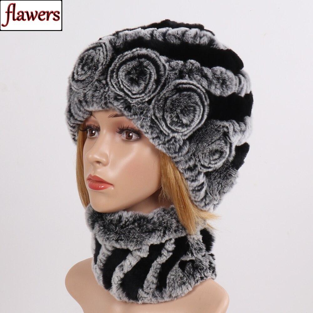 New Women Winter Real Fur Scarves Hats Sets Good Elastic Knit Real Rex Rabbit Fur Scarf Hat Ladies 100% Natural Fur Scarves Caps
