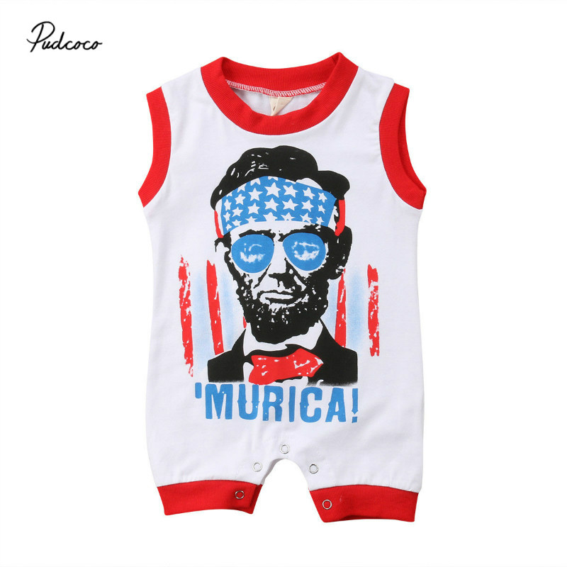 Pudcoco 2018 Summer Toddler Baby Boy Girl Sleeveless Romper Jumpsuit Outfits Cute Americ ...