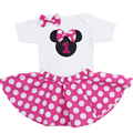 1 year birthday newborn baby girl clothes Minnie Mickey children's infant kids clothing set Pink 2pcs romper+skirt tracksuit