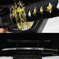 Японский Катана  настоящая сталь  ручная фреза  паз крови  полный Танг  черный цвет  полный Танг  острый черный деревянный ножны  декоративны...