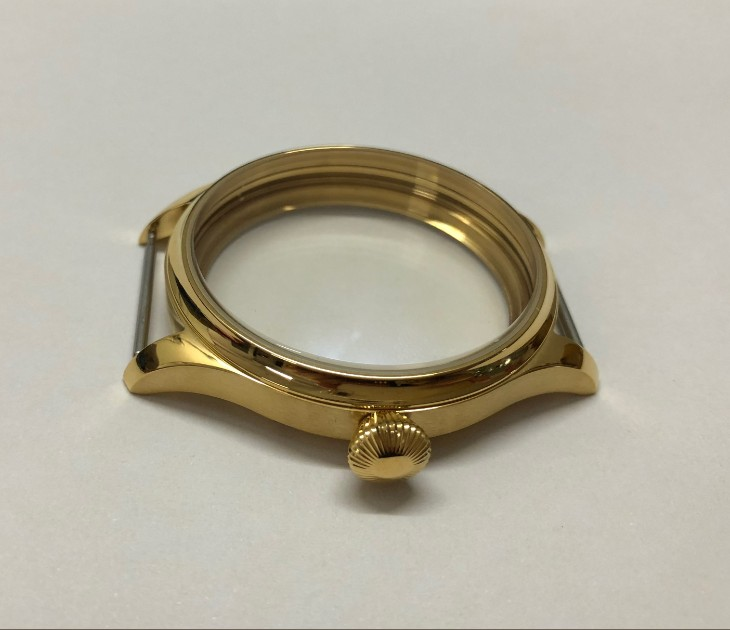 44mm High quality 316L Stainless steel Plating 18K gold watch cases fit ETA6497/6498 Hand Wind movement 015A