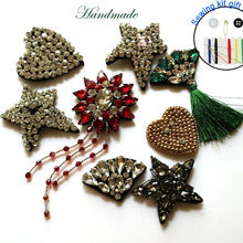 1pc 3D Handmade heart Rhinestone beaded Patches for clothing DIY sew on sequin rhinestone parches Beaded appliques hats bags
