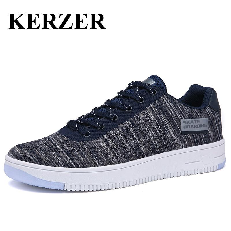 Prix pour KERZER Sport Sneakers Hommes 2017 Planche À Roulettes Chaussures Respirant de Skate Sneakers Pour Homme Marche Formateurs Bon Marché