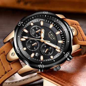 LIGE Men´s Luxury Casual Leather Military Waterproof Chronograph Sports Wrist Quartz Watches 2