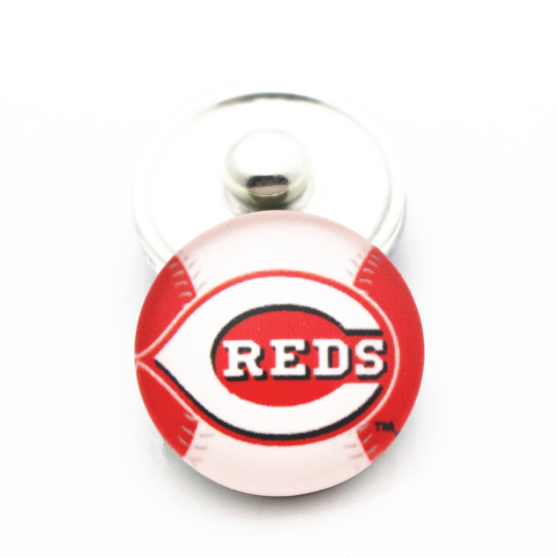 Wholesale 10pcs/lot Baseball Team Cincinnati Reds Glass Snap Buttons Charms Fit 18mm Ginger DIY Snap Bracelet Necklace Jewelry
