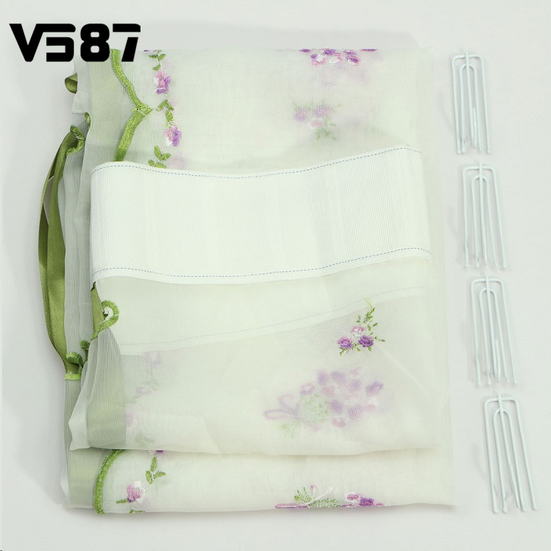 1Pcs Floral Sheer Curtains Embroider Flower Living Room Kitchen Cortinas Window Roller Blinds Roman Shade Cafe