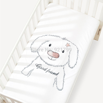 1pcs Baby bed mattress cover 100% cotton baby bed sheet for baby girl boys Fitted Sheet 120x65cm crib bedding baby bed mattress cover soft protector cartoon printed newborn baby bedding for cot 100% cotton crib fitted sheet size 130 70cm