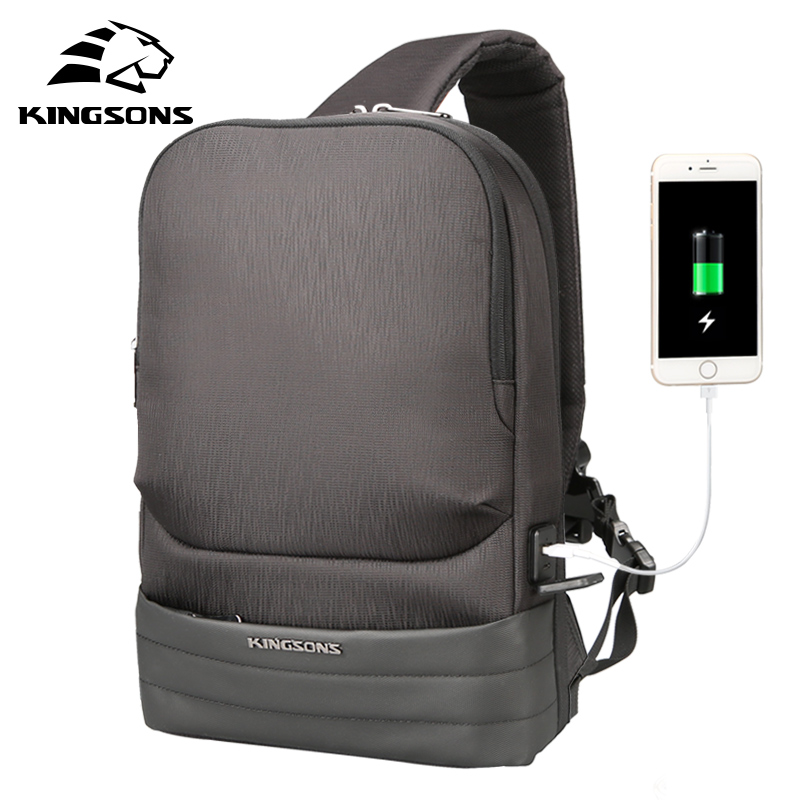 KINGSONS Fashion Men Upgrade Charger Function Unisex Anti theft Cross Body Bag Male Waterproof Chest Bag