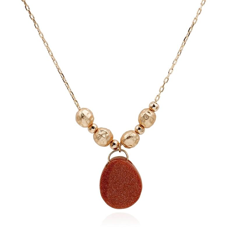 6ac1950c9519 Simple cadena de oro mujer collar Gros Collier Femme 2016 Piedra Natural COLLAR  COLGANTE Collier sautoir largo collares joyería