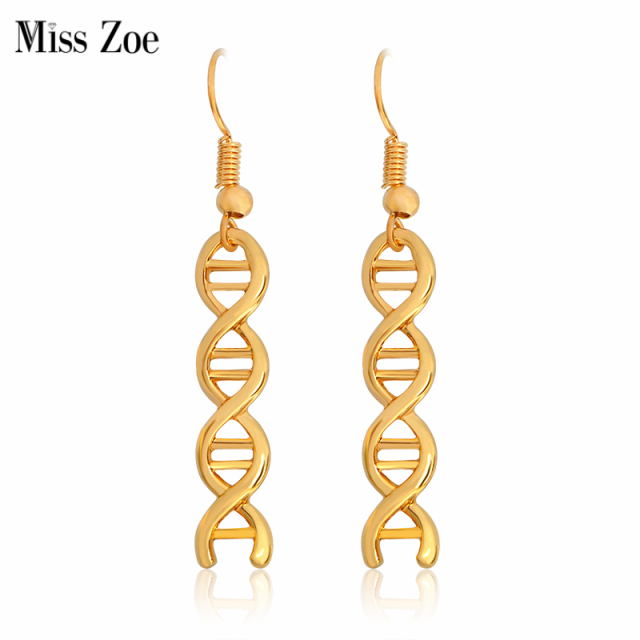 Miss Zoe Fashion Dna Strand Dangle Earrings Minimalist Eardrop Jewelry Simple Gold Silver Science Chemistry Danglers