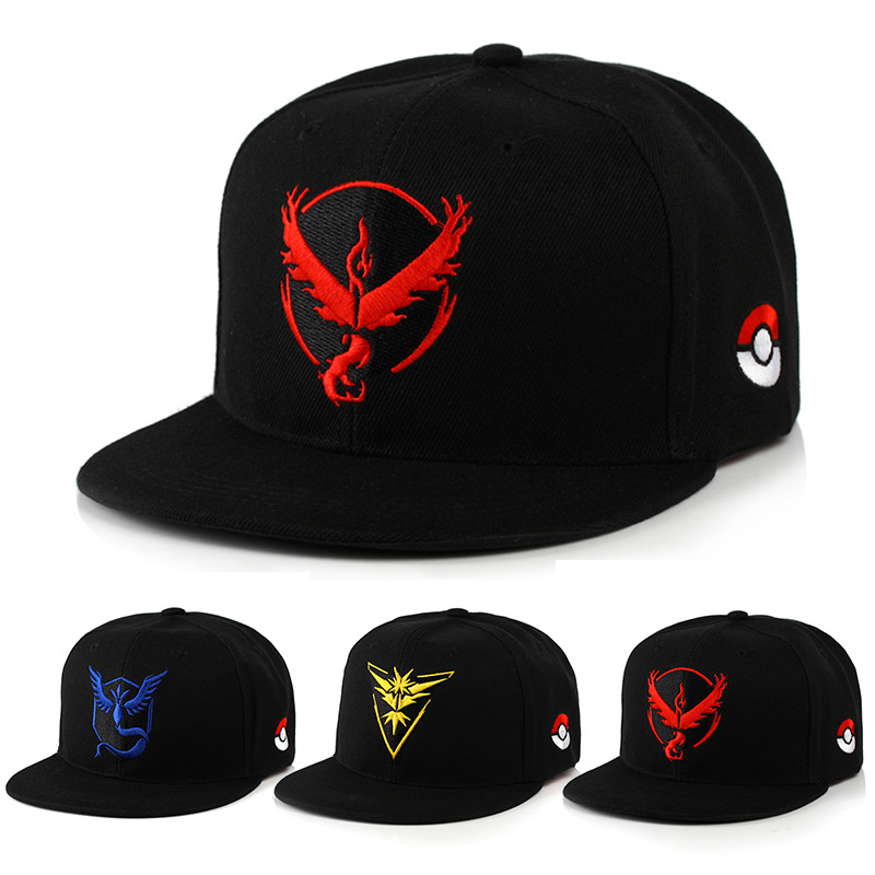 Anime Pokemon Go Baseball Cap Cosplay Costume Prop Team Mystic Team Valor Team Instinct Embroidered Hat Outdoor Sunhat