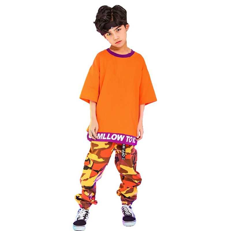 Модный джаз танец хип-хоп костюмы для мальчиков уличный танец одежда дети сценические конкурсные танцевальные платья костюмы дети бальный танцы уличная одежда